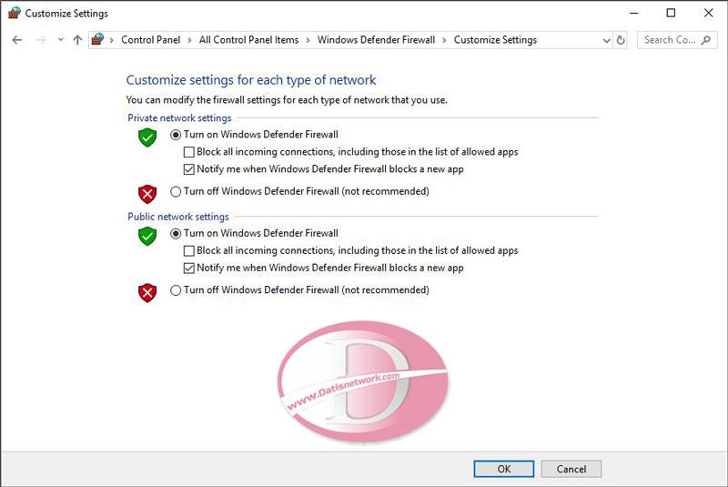 فعال کردن و غیر فعال سازی فایروال ویندوز