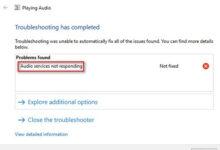 تصویر آموزش حل مشکل ارور Audio Services Not Responding در ویندوز ۱۰ و ۸ و ۷